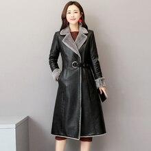 Натуральная кожаная куртка Для женщин зима-осень теплое длинное Разделение Кожаные куртки верхняя одежда размера плюс 5XL LX2596