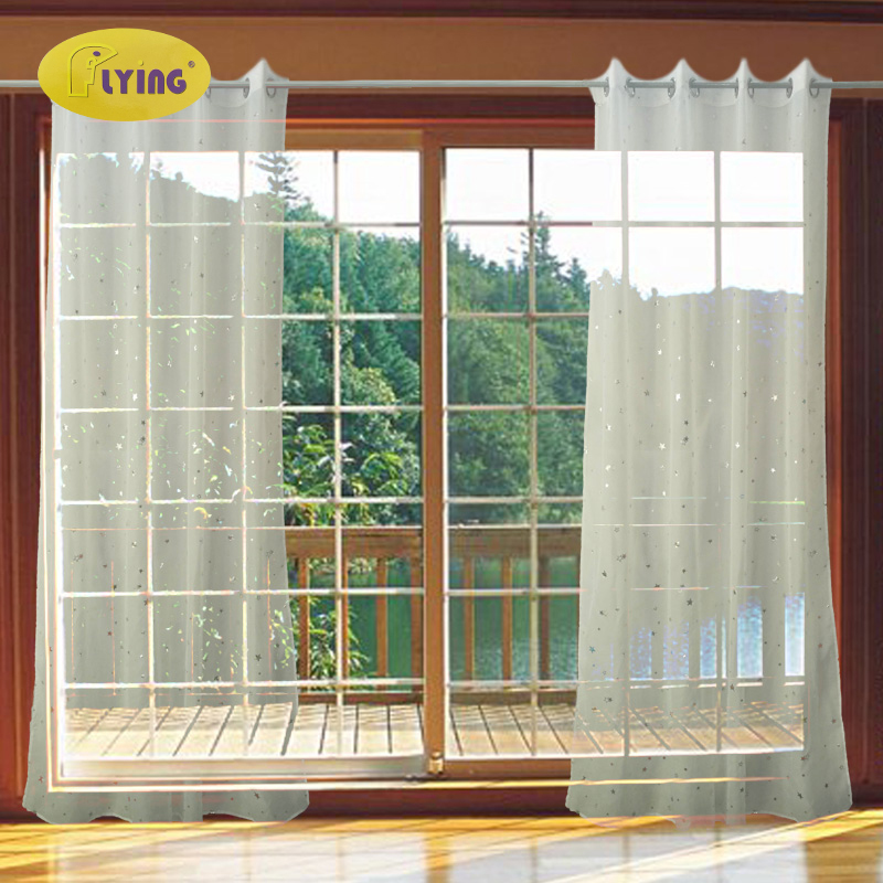 Flying Window Curtain Silver & Gold  Star For Living Room Printed Drapery Master Bedroom Guest Room  Living Room Screen
