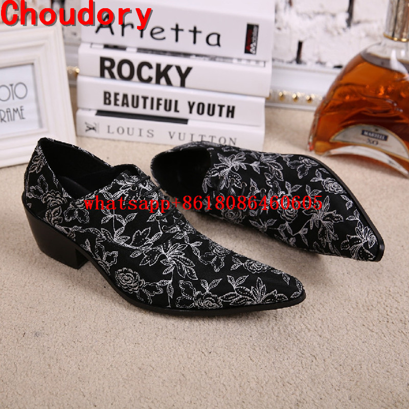 Italian mens shoes brands pointed toe dress shoes flowers printing genuine leather wedding shoes high heels designer shoes men pointed toe lace up men luxury genuine leather red wedding shoes men s high heels party dress shoes print flowers fashion shoes