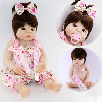 22''/55cm bebe alive reborn bonecas handmade Lifelike Reborn Baby Doll Girls Full Body Vinyl Silicone with Pacifier child gift