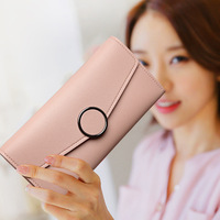 dexbxuli women wallet long Korean multi card wallet card package bulk soft snap pure color with Card Holder 7 colors