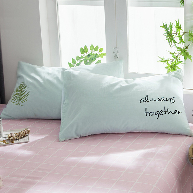 40pcs Cartoon Cute Washed Cotton Pillowcase Plant FlowerLetters Cool Cute Decorative Bed Pillows