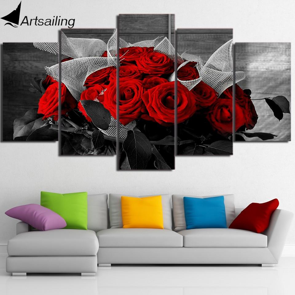 Art mural sur toile 5 panneaux | Belle Rose rouge modulaire, grande toile dart murale, toile imprimée, peinture encadrée