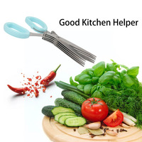 Novelty 5 Layers of Stainless Steel Kitchen Chopped Scallions Scissors Cut Office Shredding DIY Craft Scissors Cooking Tool