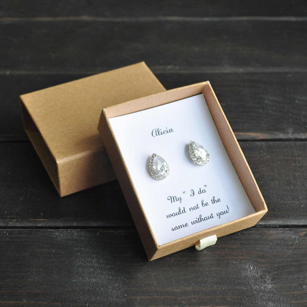Bridesmaid Gift,Custom Bridesmaid Earrings, Bridal Party Gift,Wedding Earrings, Cubic Zirconia Earrings