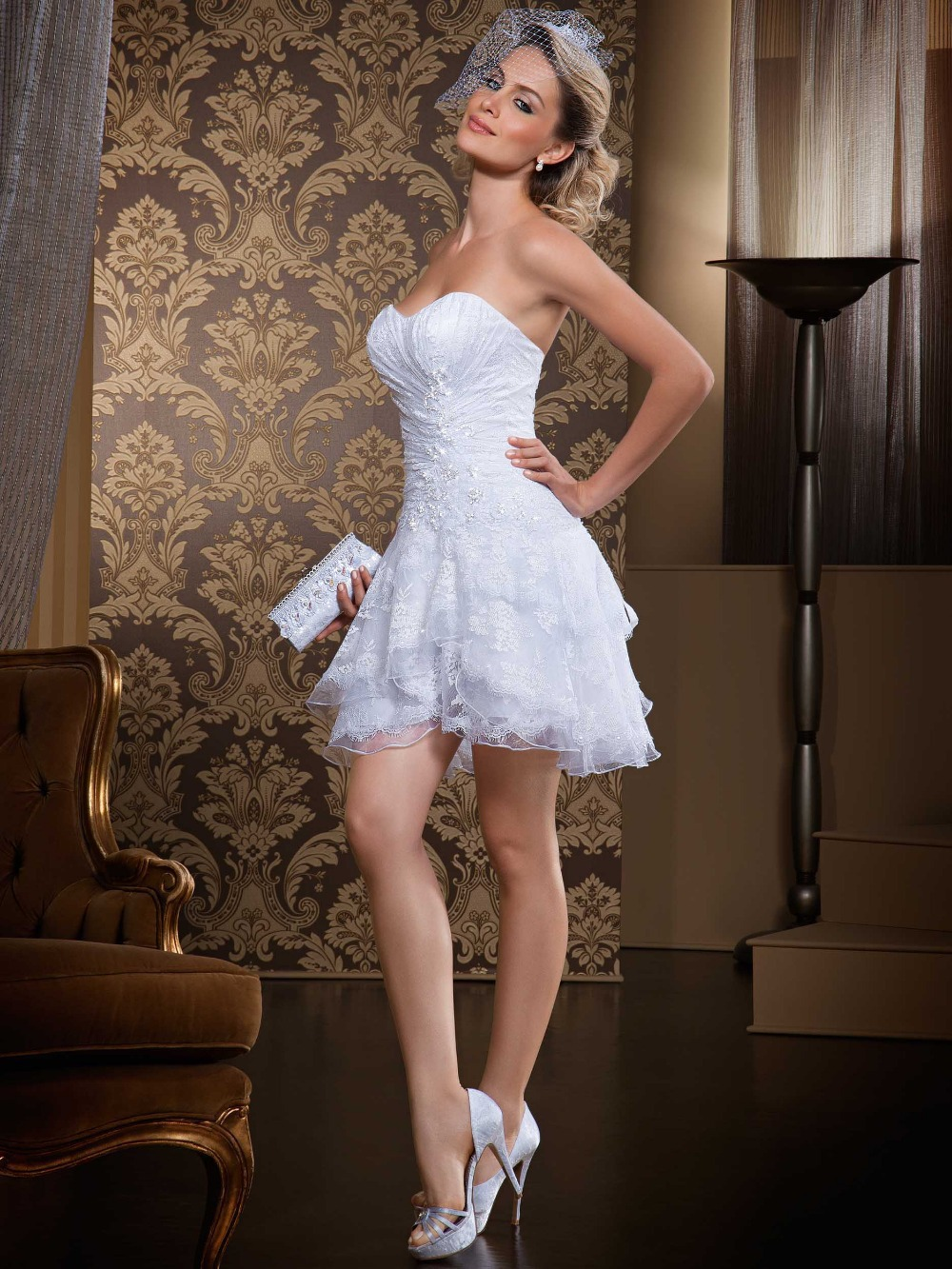 sweetheart short white wedding dress sexy off shoulder organza ...