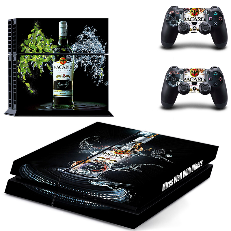 HOMEREALLY Stickers Wine BACARDI Vinyl Cover Decal PS4 Skin Sticker for Sony Play Station 4 Console and Controller Skin PS4
