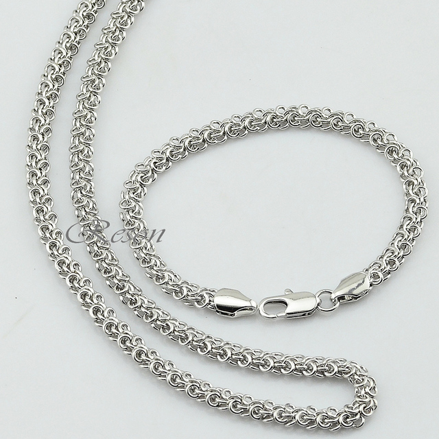 1pcs 5mm White Gold Jewelry Sets Men Women  White Gold Color Chain Swirl Twisted Top New
