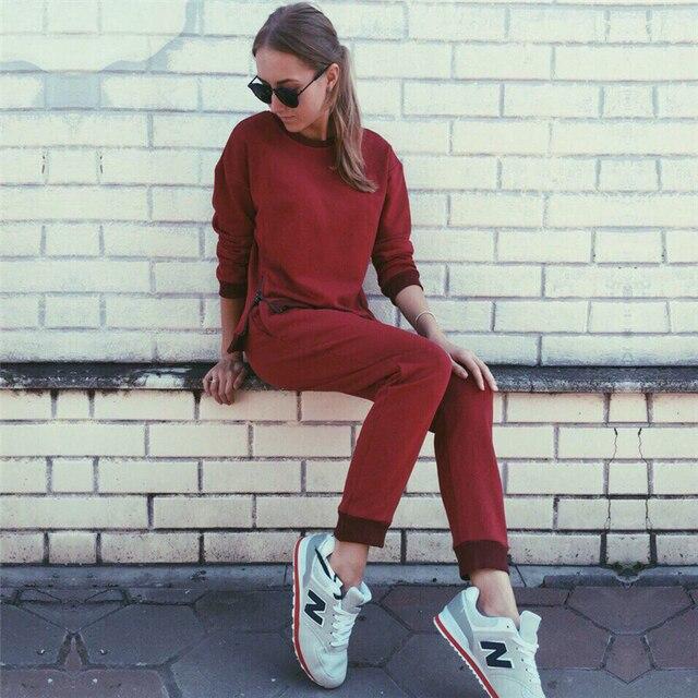 2016 Russia Autumn Winter Women Sweatsuit Set Tracksuits Solid Gray Red Costume Women (Sweatshirts + Pants) Conjunto deportivos