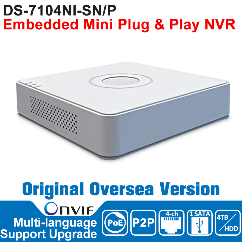 HIK NVR 4CH POE IP Camera Network Video Recorder DS-7104NI-SN/P 4CH NVR POE 4CH POE 1SATA Embedded Mini Plug and Play NVR original english version nvr ds 7104ni sn p 4ch mini nvr 4ch poe network video recorder hd 1080p nvr work well with h 265 ipc