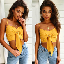 2019 NEW Sexy Pure Color Spaghetti Strap Crop Top Women Back Bow Cami Top Vest Summer Female Beach Casual Slim Fit Tank Tops Tee все цены