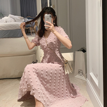 Mishow 2019 Women Summer pink chiffon elegant dress floral V-neck short sleeve sweet Mid-length dresses MX19B1270