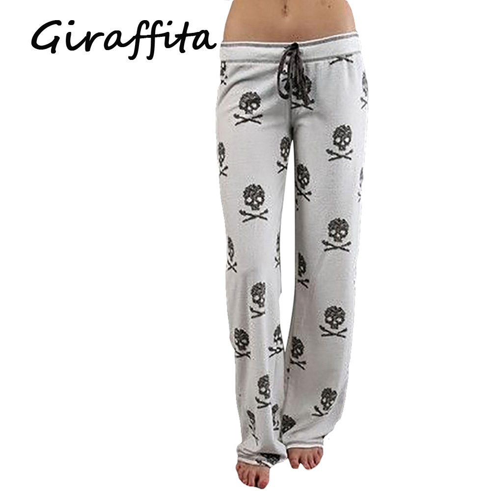 Giraffita Women Pants Casual Low Waist Flare Wide Leg Long Pants Palazzo Trousers Skull Printed Pajama