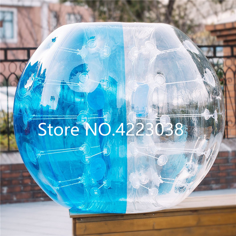 Free Shipping Blue and Clear PVC 1.5 m Dia Bumper Body Ball Inflatable Body Ball Body Zorb Ball Bubble Soccer for Adults