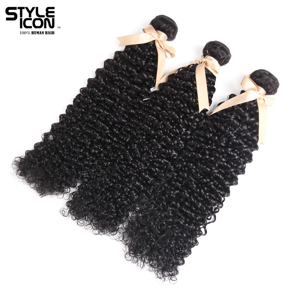 Styleicon Pre-colored Non Remy Peruvian Kinky Curly Hair Wave Bundles 3 Bundles Deal Natural Color 100% Human Hair Weave Bundles