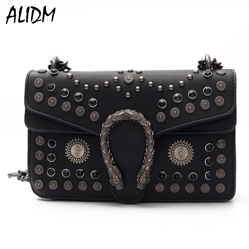 2017 Vintage Messenger Bags Women Flap Bag Ladies Fashion Rivet Chain Shoulder Bag High Quality Leather Crossbody Bolsos Mujer