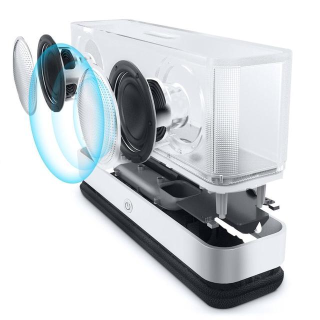 Teal Altavoz Bluetooth Estéreo inalámbrico de aluminio Parlante portátil FM Radio Altavoz apoyo tiempo reloj de alarma TF línea en el espejo
