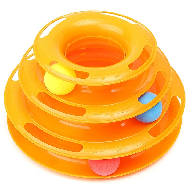 Cat toys Tower of Tracks Interactive Pet Cat Toys Creative Three Layers Intelligence Crazy Amusement Petstages Ball Disk Play