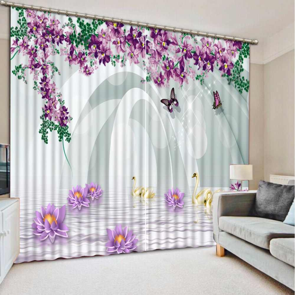 3D Curtains Purple Romantic Window Curtain For Living Room Bedroom Flower View and expend space Girls Room Curtain Cotinas