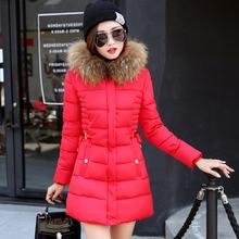2016 Корейская версия новой зимнее пальто для Девочек куртки длинные тонкая талия большие ярдов хлопка способа меховой воротник женщин parkas 7338