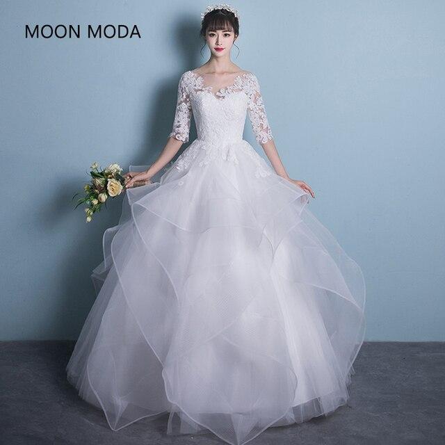 long half sleeve muslim lace wedding dress high quality 2018 bride ...