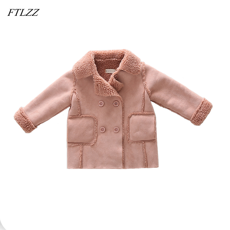 Spring And Autumn Baby Girls Princess Children Clothing Fashion Plus Cashmere Turn-down Collar Infants Jacket Coats Outwears