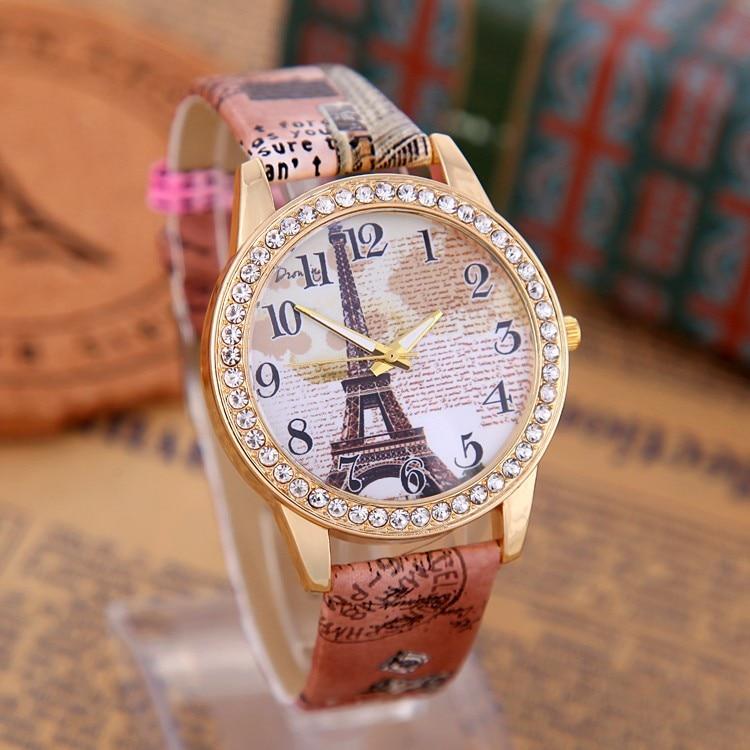 Fashion Eiffel Tower Quartz Vintage Leather Retro Wrist Women Students Watch 2