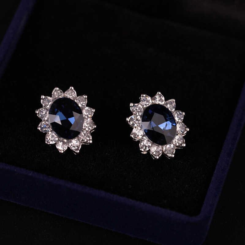 כסף צבע שרשרת סט לנשים אפריקאי תכשיטי יום נישואים מתנה כחול קריסטל אבן חתונה תכשיטים עבור כלות