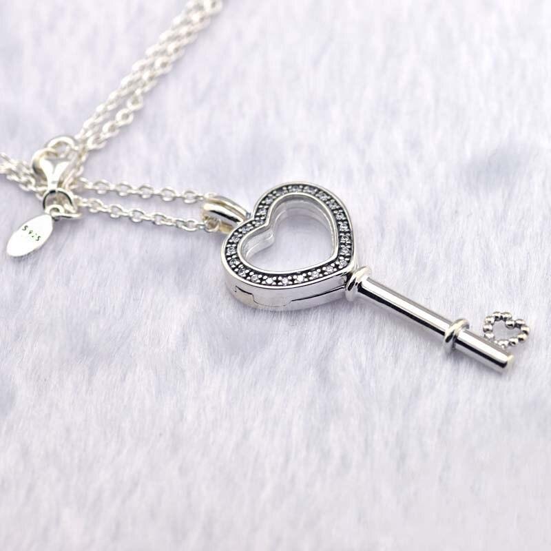 Médaillon flottant coeur clé pendentif et collier 100% 925 argent Sterling bijoux fins livraison gratuite