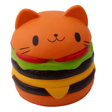 Spongy Orange Cat Hamburger Toy