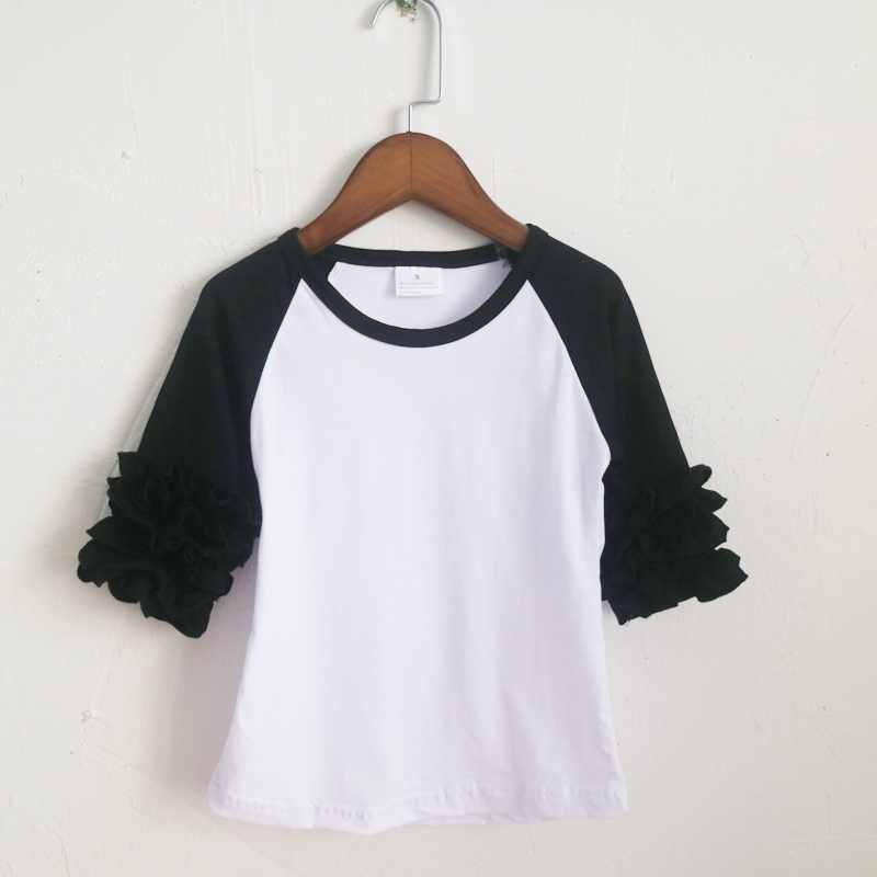 fall spring black raglan ruffle T shirts wholesale ruffle 3 4 sleeve shirts aqua blue