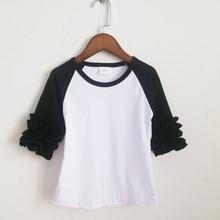 fall spring black raglan ruffle T-shirts wholesale ruffle 3/4 sleeve shirts aqua blue icing shirt for girl