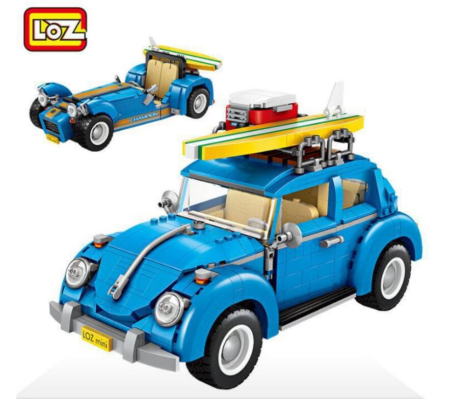 Mini Blocks Technic Mini City Car 2 In 1 Model Building Bricks Vehicle Racing Car Assembly Toys For Children LOZ 1114 2 in 1 transformable assembly building blocks car for children puzzling toys