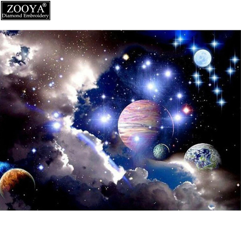 Zooya 5d diy diamond embroidery outer space landscape for Outer space landscape