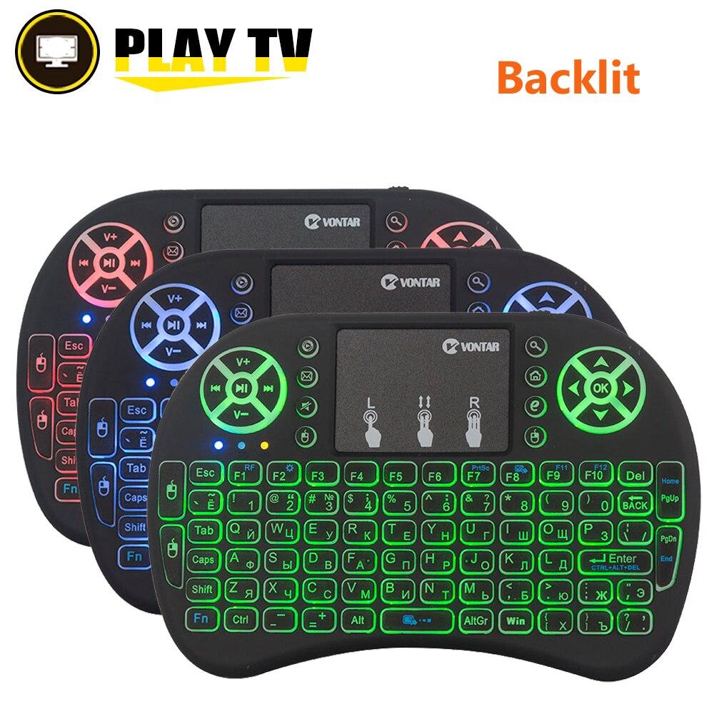 VONTAR i8 + Englisch Russisch Spanisch hintergrundbeleuchtung Mini Drahtlose Tastatur 2,4 GHz Air Maus für android TV Box X92 X96mini Laptop PC