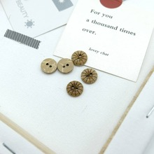 Hot 100 Pcs/Set Wooden Buttons Natural Color Round 2-Holes Sewing Scrapbooking DIY  Coconut Shell Accessories