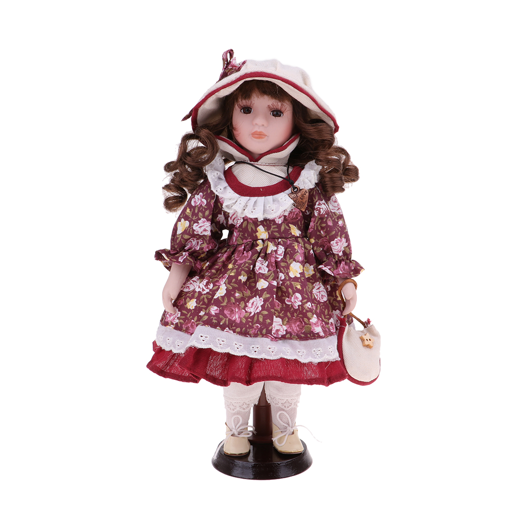 30cm Porcelain Doll Victorian Girl Standing Figures With Wooden Stand Kids Adult Collections Porcelain Dolls Collectible