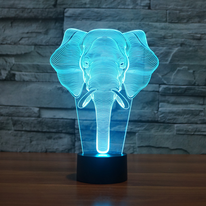 3D illusion Animal Elephant Night Light 7 Colors Touch Changing As Home Decor For Children Bedroom Table Desk Lamp 3d luminous ice hockey player shape led table lamp 7 colors changing home living room decor light fixture baby sleep night light