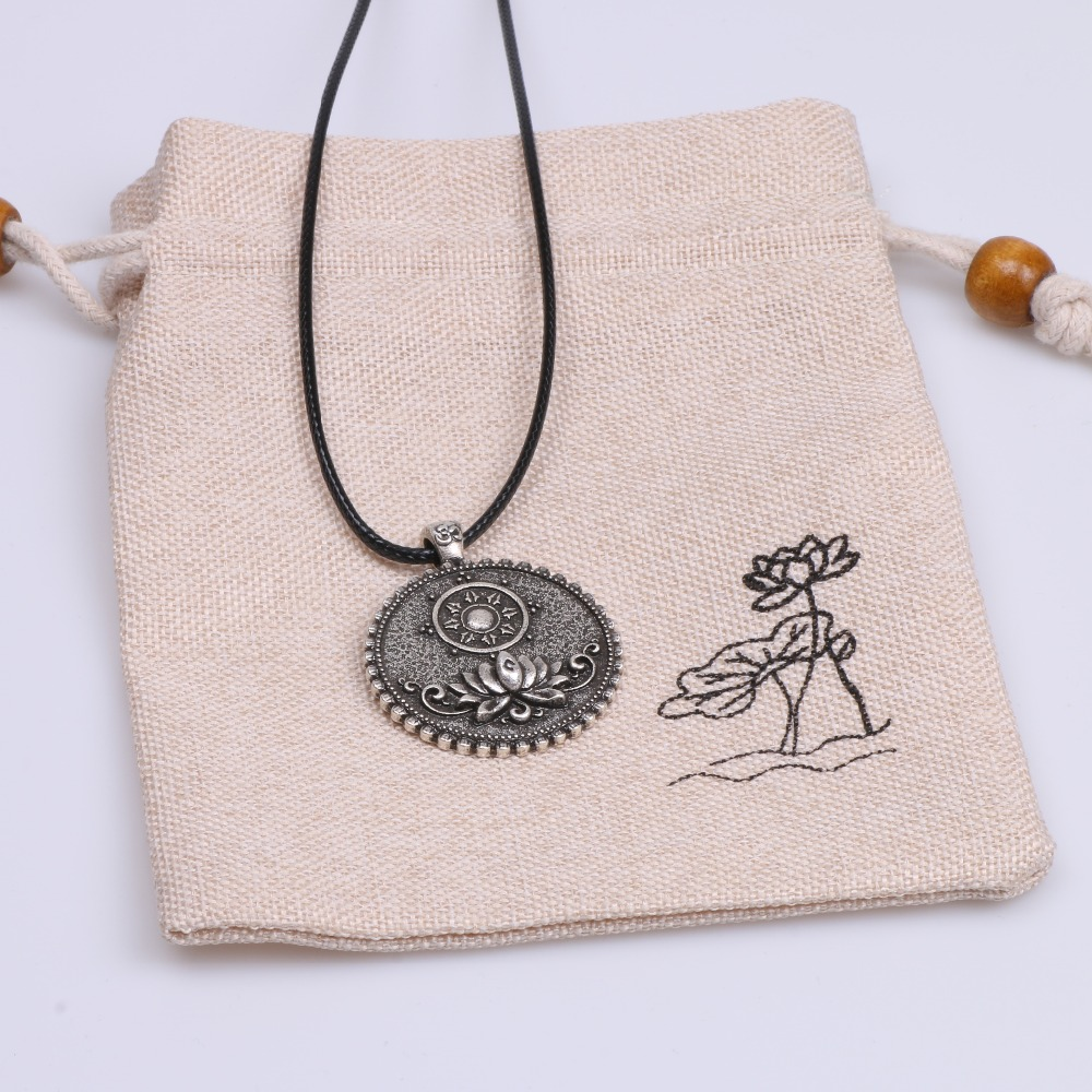 Mandala Necklace Tibetan Buddhist Dharma Wheel Meditation Religious Jewelry
