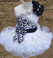Новый блеск Нарядные платья для Обувь для девочек малышей леопардовым принтом одно плечо Черный и Белый органзы бисером с цветами ручной ра