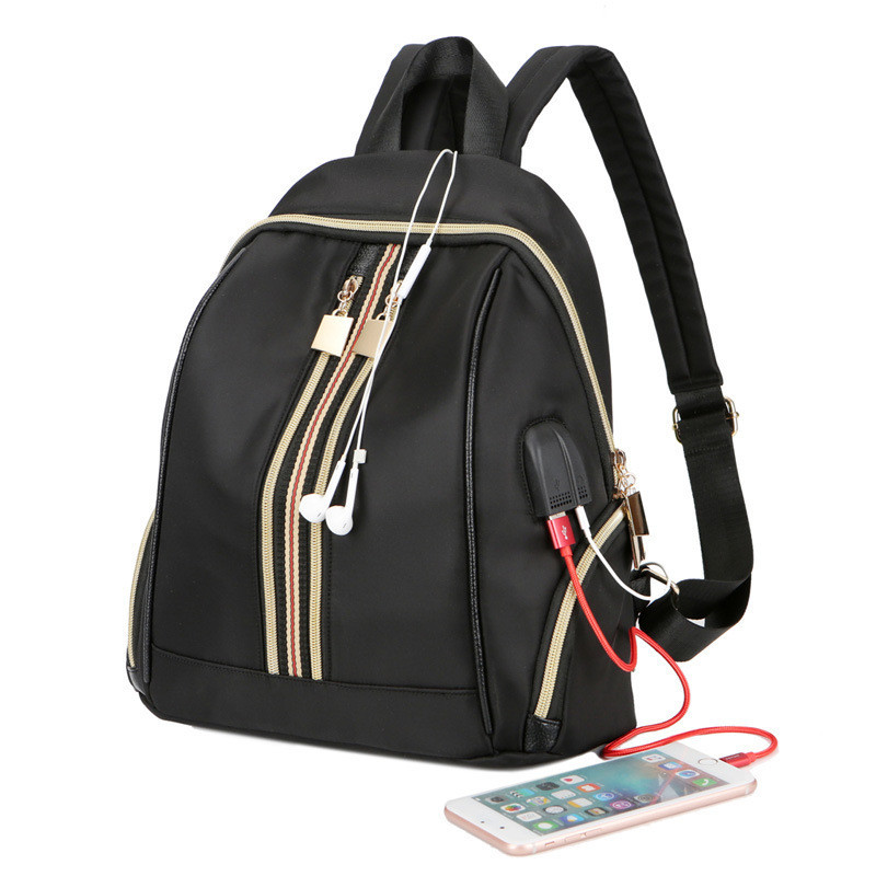 Small Waterproof Nylon Women Backpack Fashion Shoulder Back Bag USB Charging School Backpacks for Teenage Girls Travel Bags benro beyonds30 nylon camera bag waterproof shoulder backpack
