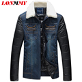 LONMMY M-5XL chaqueta de Vaquero denim hombres cuello de Piel Casual jeans jacket Slim fit hombres parka 2016 Nuevas chaquetas de Invierno para hombre parka