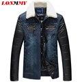 LONMMY M-5XL homens jaqueta de Cowboy denim gola De Pele jaqueta jeans Casuais Slim fit homens parka Quente 2016 Novos casacos de Inverno dos homens parka