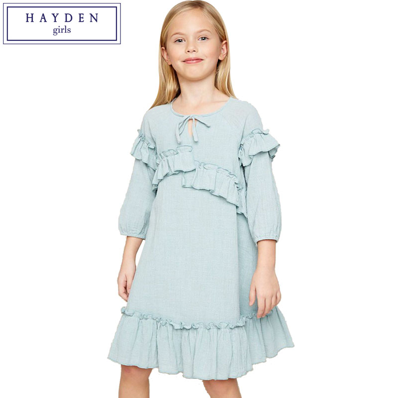 HAYDEN Girls Ruffled Dress 100% Cotton Dress for 12 Years Girls 2018 Spring Summer New Teenage Girls Clothing Brand Clothes girls 100