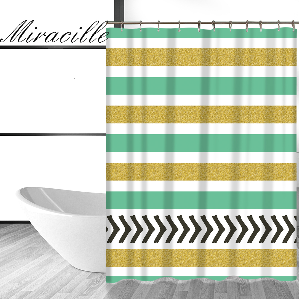 Yellow stripe shower curtain - Miracille Nordic Style Geometry Art Golden Striped Shower Curtain For Bathing Waterproof Fabric Bathroom Great Decor