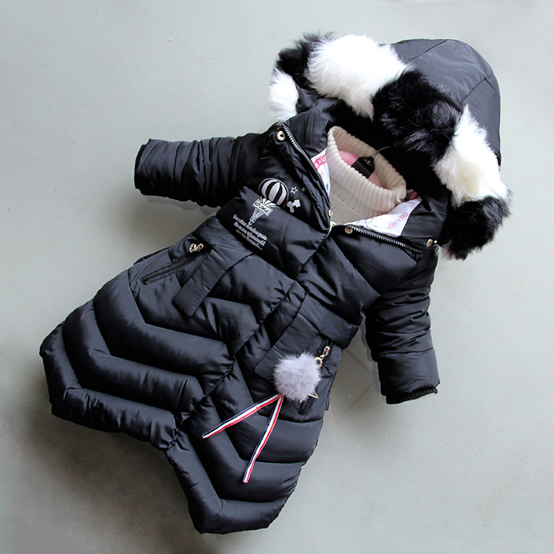 BibiCola 2018 Winter Girls Hooded Coat Fashion Fur Collar Thicken Warm Long Jacket Kids Warm Down Parkas Cotton Outerwear стоимость