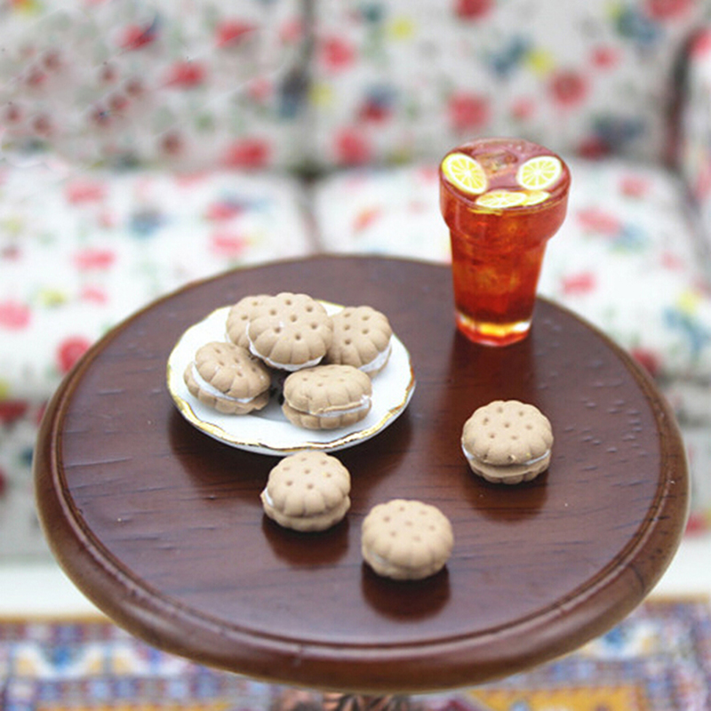 9Pcs 1/12 Dollhouse Miniature Accessories Sandwich Biscuit Simulation Food Dessert Model Toys For Doll House Decor