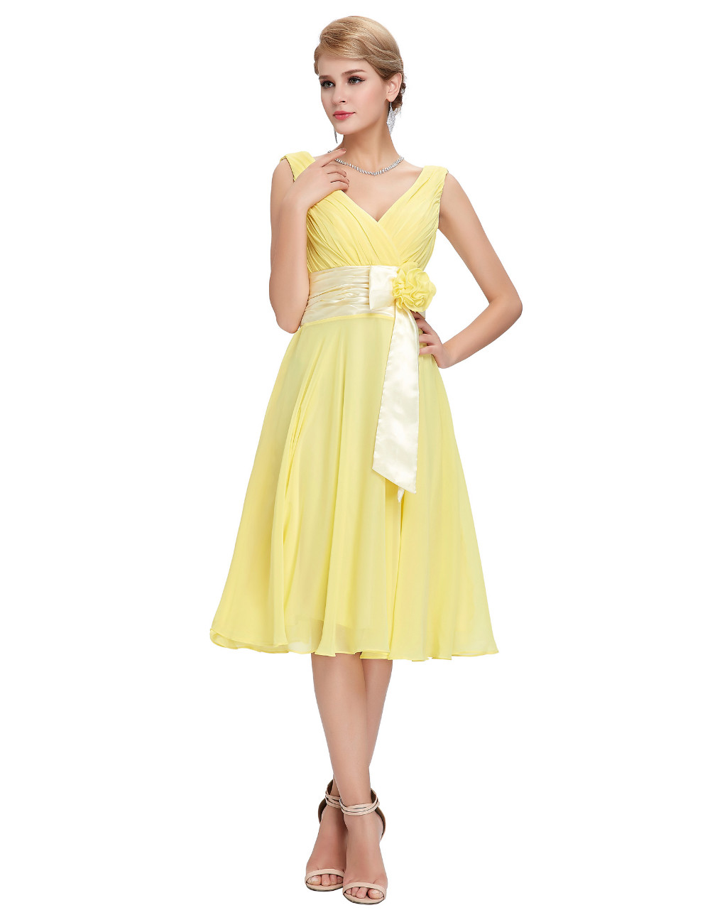 HTB1482TMVXXXXb.XVXXq6xXFXXXZKnee Length Short Chiffon Blue Dress