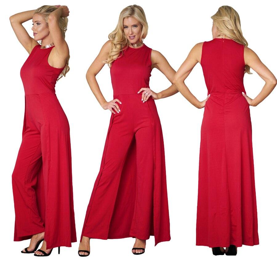 610e012026a CINQ DIAMANTS Summer Red Jumpsuit Women Elegant Sleeveless Jumpsuit ...