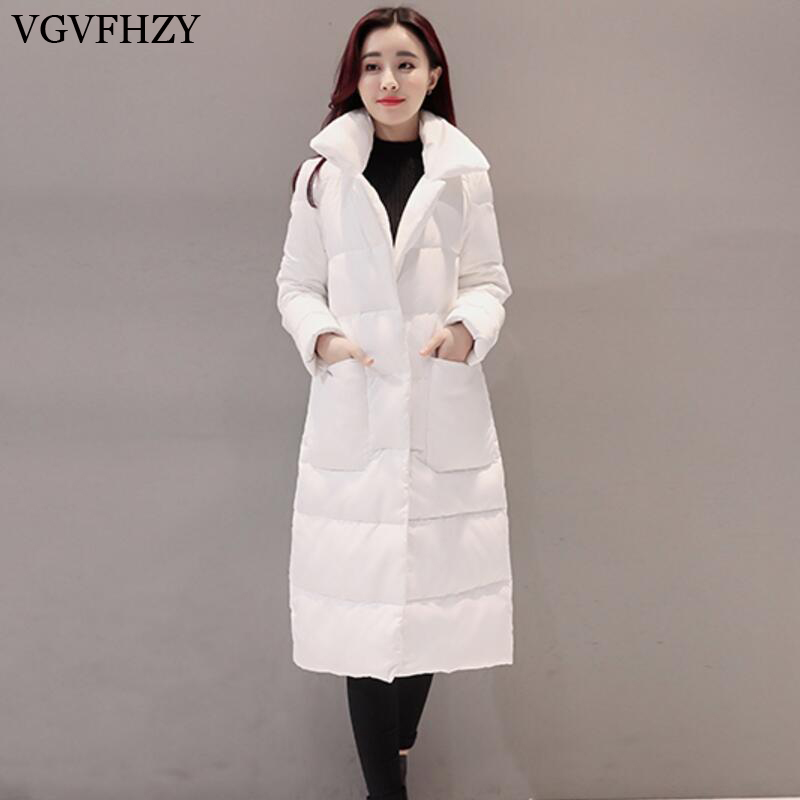 Women Loose White Duck Down Jacket 2017 New Female Long Warm Goose Feather Coat Plus Siz ...